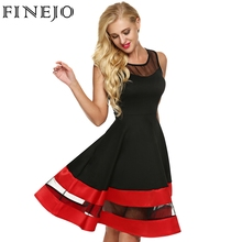 Buy FINEJO Women Fashion Sleeveless Party Dress See-through Organza Patchwork Contrast Color A-Line Midi Party Dresses Plus Size for $21.80 in AliExpress store