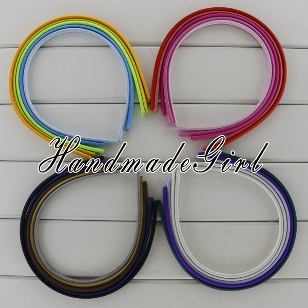 7 mm Solid Satin Ribbon Hairbands Kids Plastic Hair Band Head Bands Infant Headbands