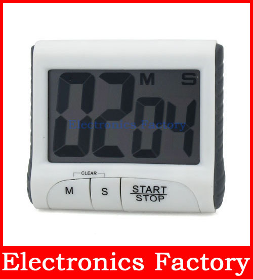 Electronic LCD Digital Count Clock Counter Large Kitchen Cooking Countdown Alarm Timer Flat Table Remind Magnet Mag(China (Mainland))