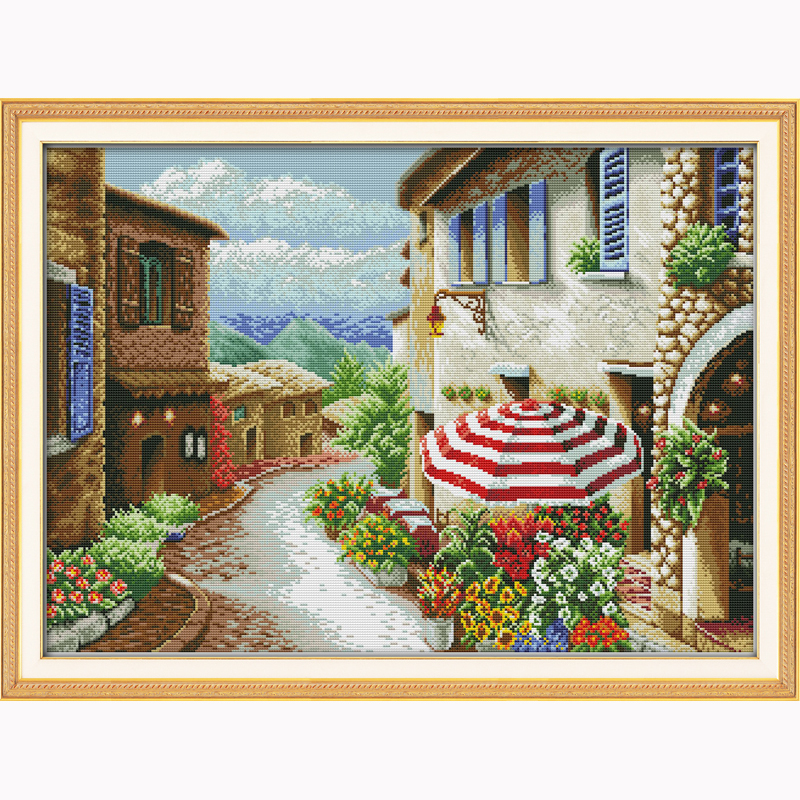 A street view counted stitch 14ct Needlework,DIY DMC Landscape painting Cross stitch Sets For Embroidery kits Cross-Stitching(China (Mainland))
