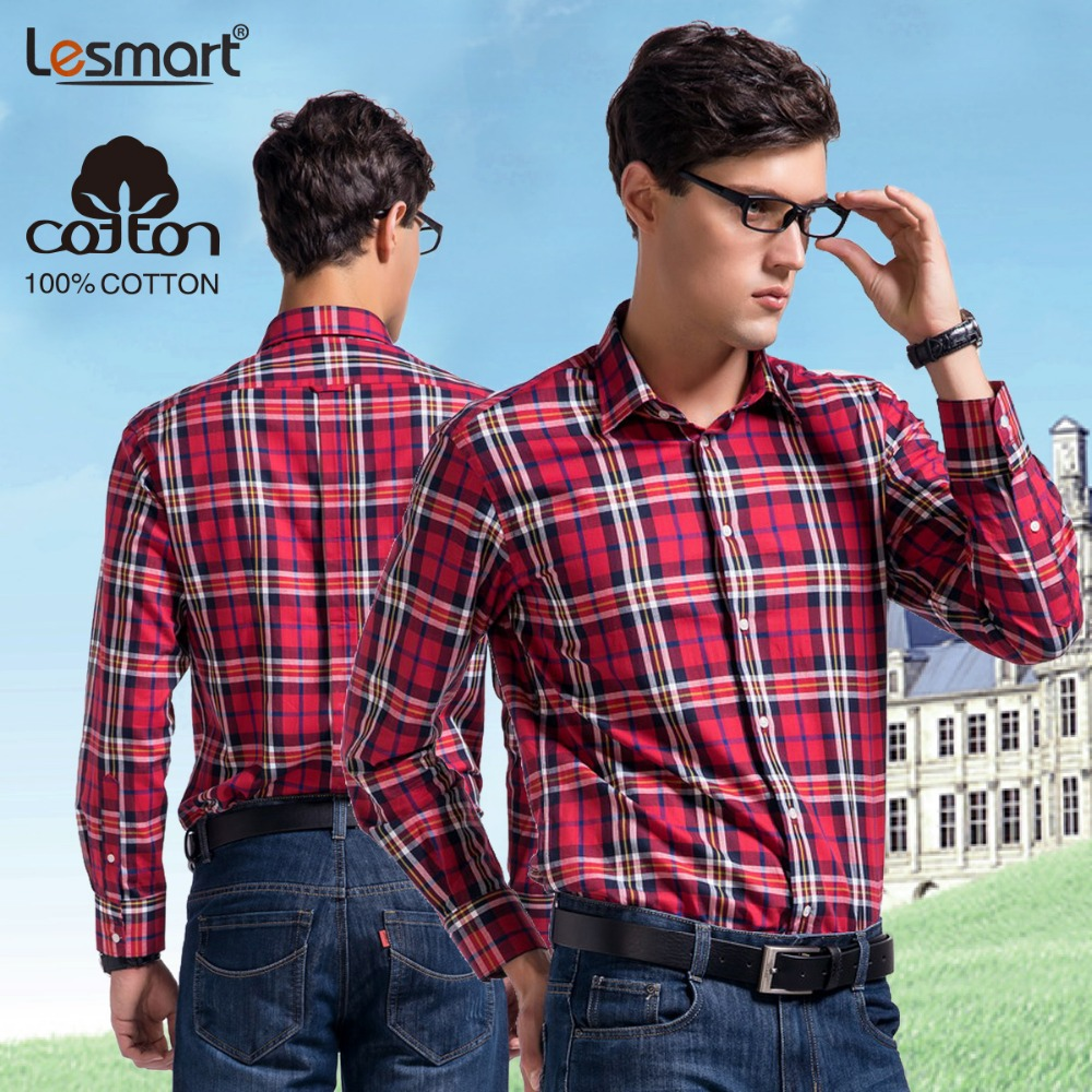Lesmart Mens Plaid Shirt Long Sleeve Pure Cotton Brand New Clothing Red Fashion Casual Business Dress Slim Fit Camisas Masculina - Qingdao Textile Co., ltd store