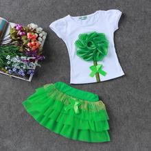 2016 new girls suit (princess dress + T-shirt) 2 PC sets, layered tutu skirt 2 clothing sets Summer girls fashion skirt suits(China (Mainland))