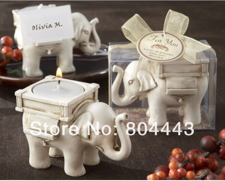 Free shipping 8PCS/LOT Wedding Favor--Lucky Elephant Antique Ivory-Finish candle Holder by CPAM(China (Mainland))