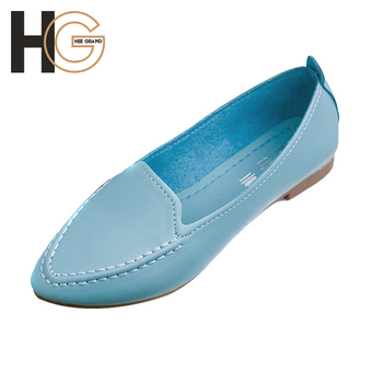 Women Flats 2016 Summer Style Casual Solid Pointed Toe Slip-On Flat Shoes Soft Comfortable Women Shoes Plus Size 35-40,XWC267