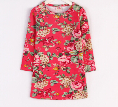 2015 spring little girls floral pattern worsted above knee dress long sleeve casual dress A1451(China (Mainland))