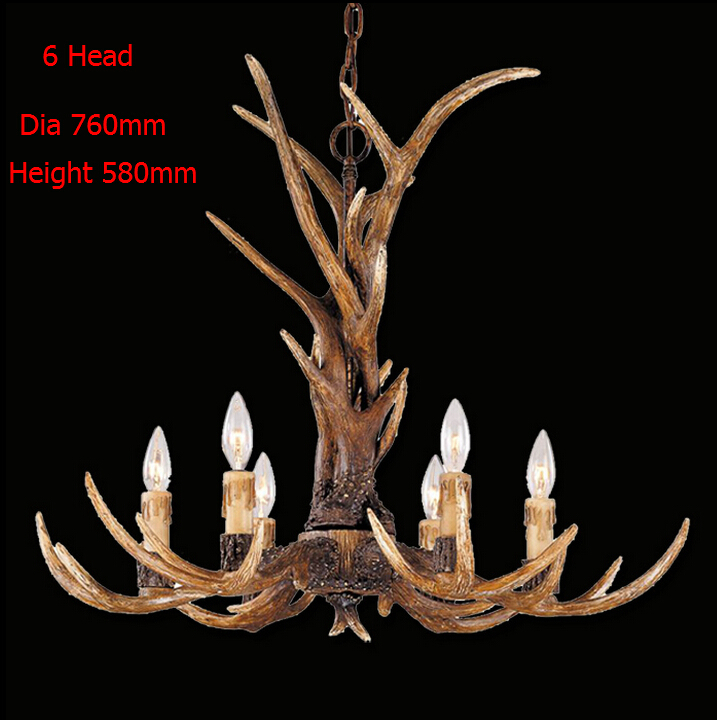 Europe Country 6 Head Chandelier American Retro Lamps Fixture Resin Deer Horn Antler Lampshade Decoration E14 110-240V New Year(China (Mainland))