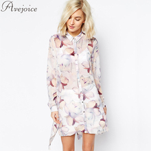 Hot Sale Summer Women Shirts 2016 European Fashion Floral Print Long Casual Slit Female Elegant Blouse AJ0047