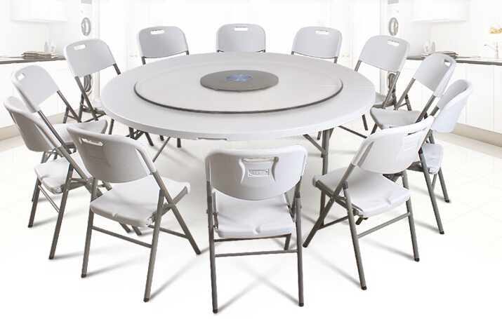 HDPE Plastic Folding Dining Table Round For Hotels Restaurant Home And Outdoo