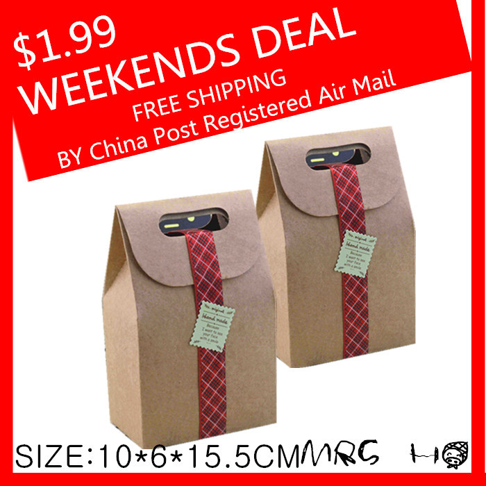 Weekends Deal Packaging Real Food Bags 350g Kraft Paper Cake Cookies Packing10*6*15.5cm Bag Flexiloop Handle Package(China (Mainland))