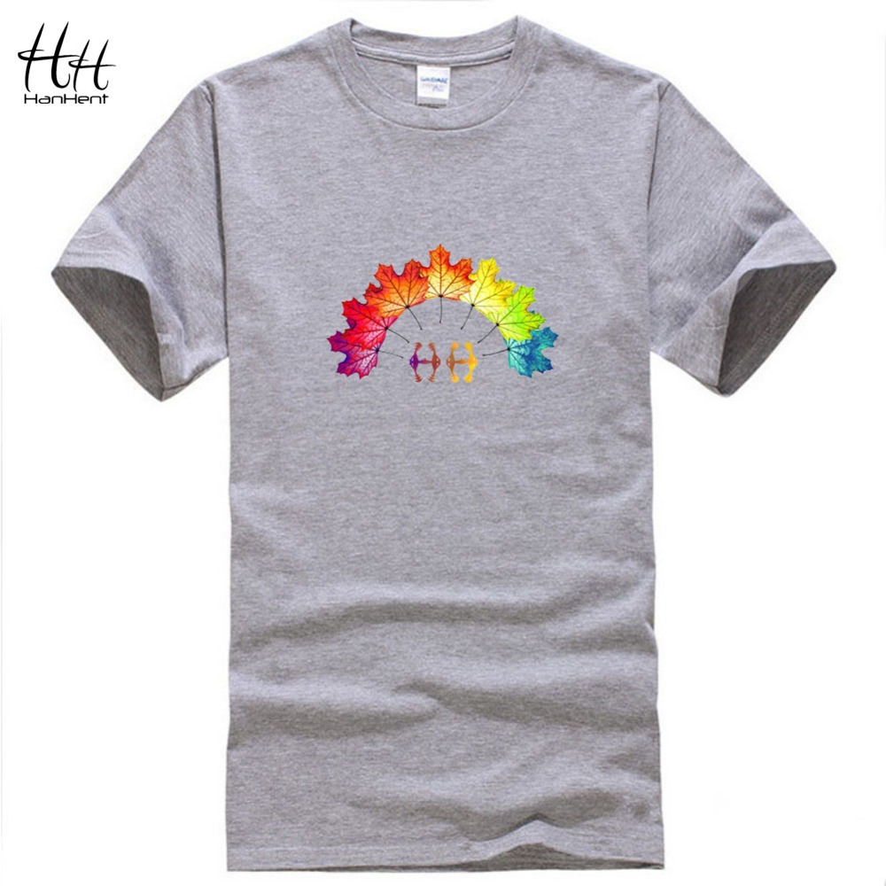 HanHent Men 3D Shirt leaf t shirt Canada HH Logo Colorful Leaves funny T-shirt hip hop summer Casual top tees O-neck clothing(China (Mainland))