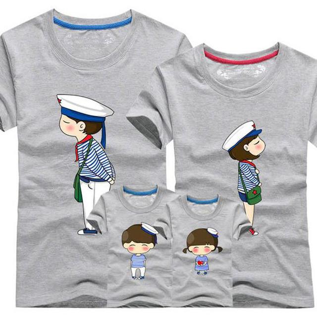 1 шт. папа мама с коротким рукавом - рубашки 2016 семья соответствующие одежды голубой ...
