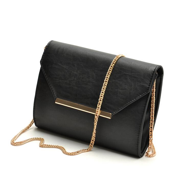 2015 New fashion classic black envelope crossbody bag ladies small handbag female shoulder evening bags women clutch bolsa(China (Mainland))