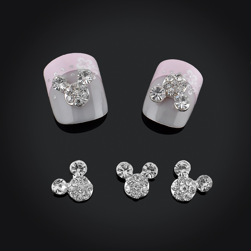 2015 Glitter Full Drill Mouse Nial Art Decorations Alloy Rhinestones 3d Nail Jewelry Charms For Nails