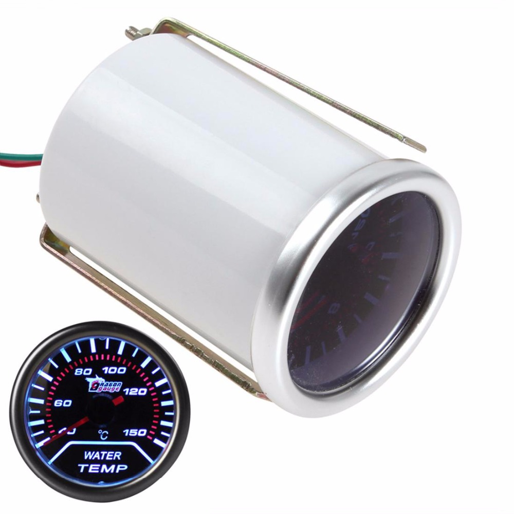 2 52mm Car Universal Smoke Len LED Water Temperature Gauge Meter