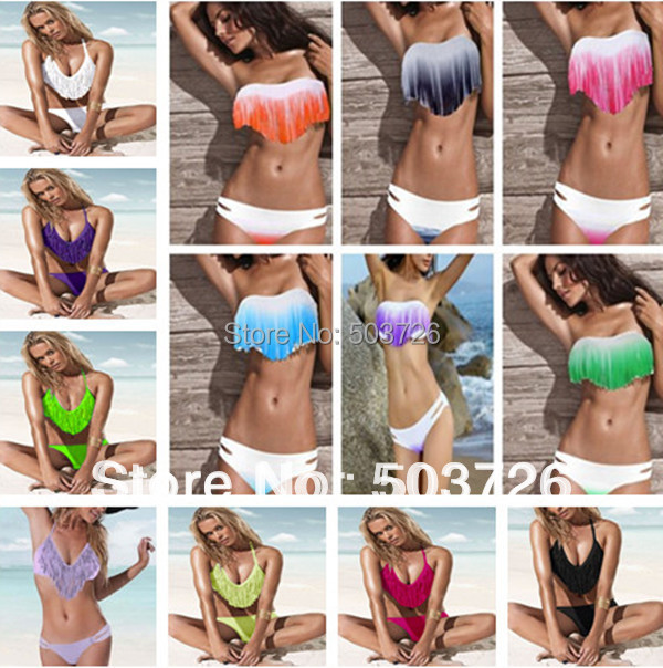 Hot Sale Women Swimwear Sexy Lady Padded Boho Fringe Dolly Bikini Set New Fashion Swimsuit