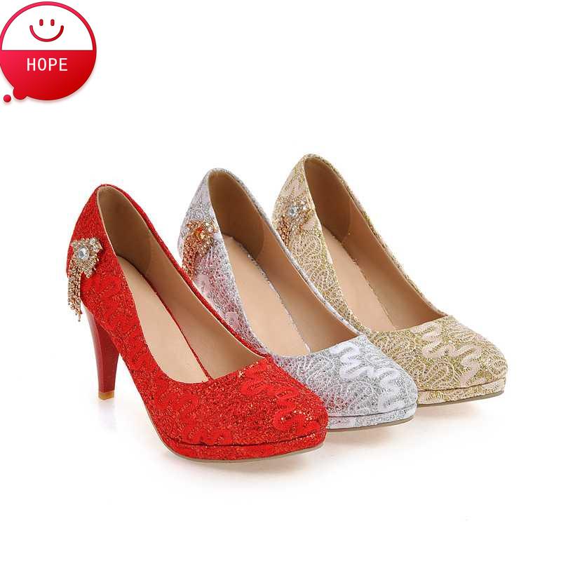 Plus Size34-43 2016 Women Pumps Designer Autumn Wedding Shoes  gold silver High Heels Prom Shoes Summer Platforms Pumps PS1437