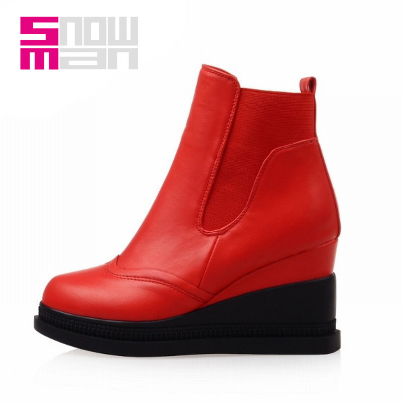 Women Boots Elastic Slip on Ankle Boots Martin Boots Zapatos Mujer Platform Shoes Woman Wedges Short Winter Boots Women's Shoes