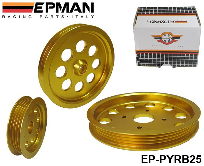 free shipping EPMAN Aluminium Alloy Light Crank Engine Pulley Set for Nissan Skyline R32 R33 RB25DET GTS high quality EP-PYRB25(China (Mainland))