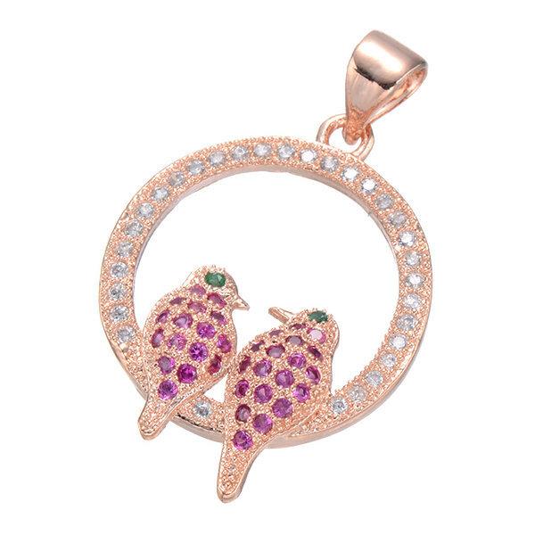 fashion women bird jewelry pendant micro pave zircon rose gold women pendant(China (Mainland))
