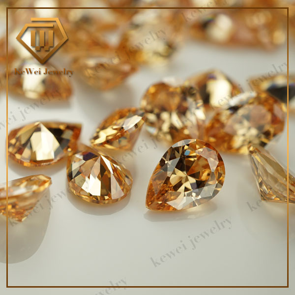 Pear Shape CZ Stone AAA 3*4mm-7*10mm Machine Cut 4*6mm 6*8mm Champagne Color Loose Cubic Zirconia Wholesale Synthetic Gemstone(China (Mainland))