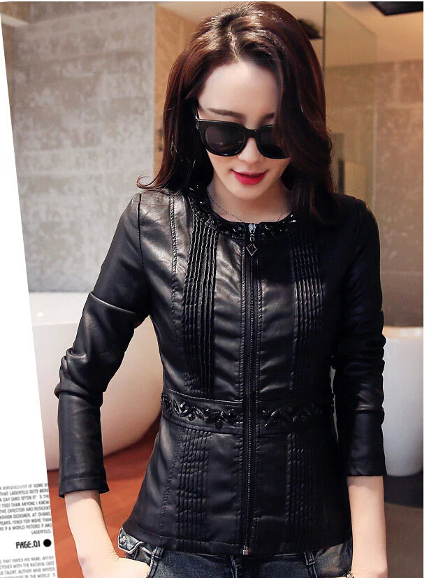 Leather coat women 2015 new leather clothing short casual jackets motorcycle jacket spring women leather jacket 5XL large sizeОдежда и ак�е��уары<br><br><br>Aliexpress