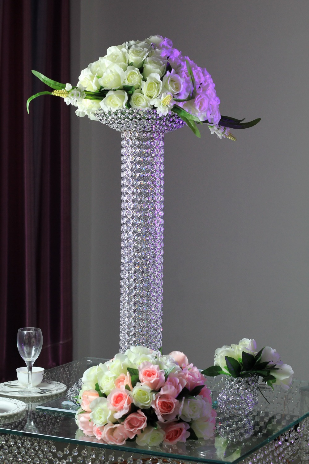 Bling wedding centerpiece crystal flower stand with bowl