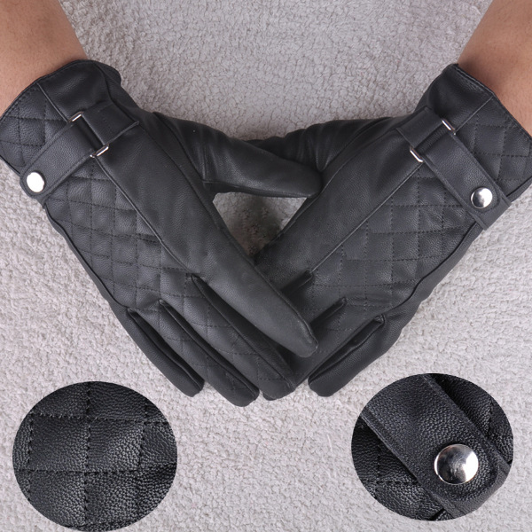 Men Male Faux Leather Warm Gloves Boys Sports Gloves Mittens Grids Lattice MIttes(China (Mainland))