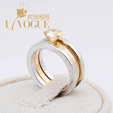 Alphabet Unique Engagement  Wedding Women Rings AAA Zircon Prongs Vintage18K Gold /Platinum Silver Plated UVOGUE Brand Jewelry(China (Mainland))