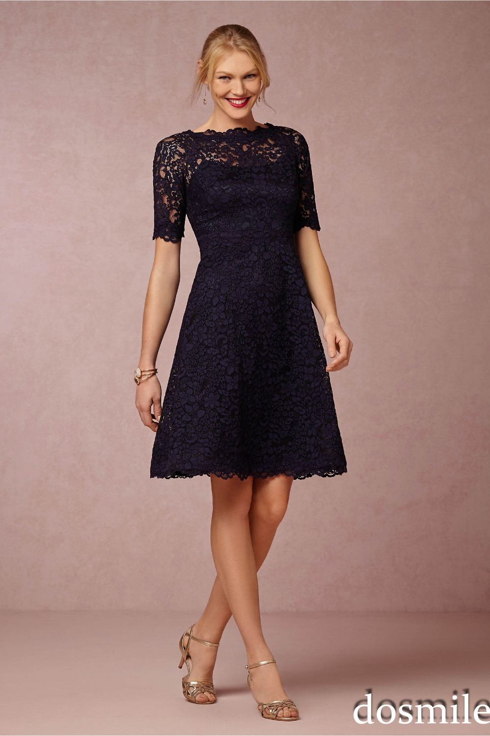 Lace a line black mother of bride dress with short sleeve plus size