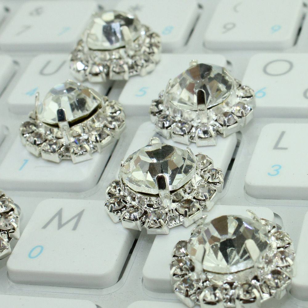 Free Shipping 60pcs/lot Fashion Crystal Rhinestone Button with Crystal and Pearl in Sliver or Gold Setting(China (Mainland))