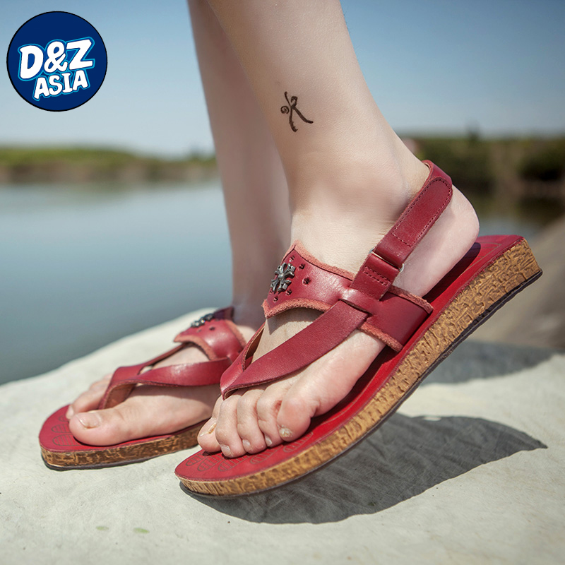 Summer new original leather flat thong sandals personality Velcro shoes<br><br>Aliexpress