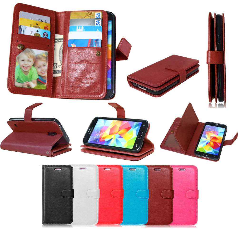 9 Card Holders Wallet Case for Samsung Galaxy S5 Case Luxury soft PU Leather Wallet Flip Cover+Cash Slot+Photo Frame Phone Cases