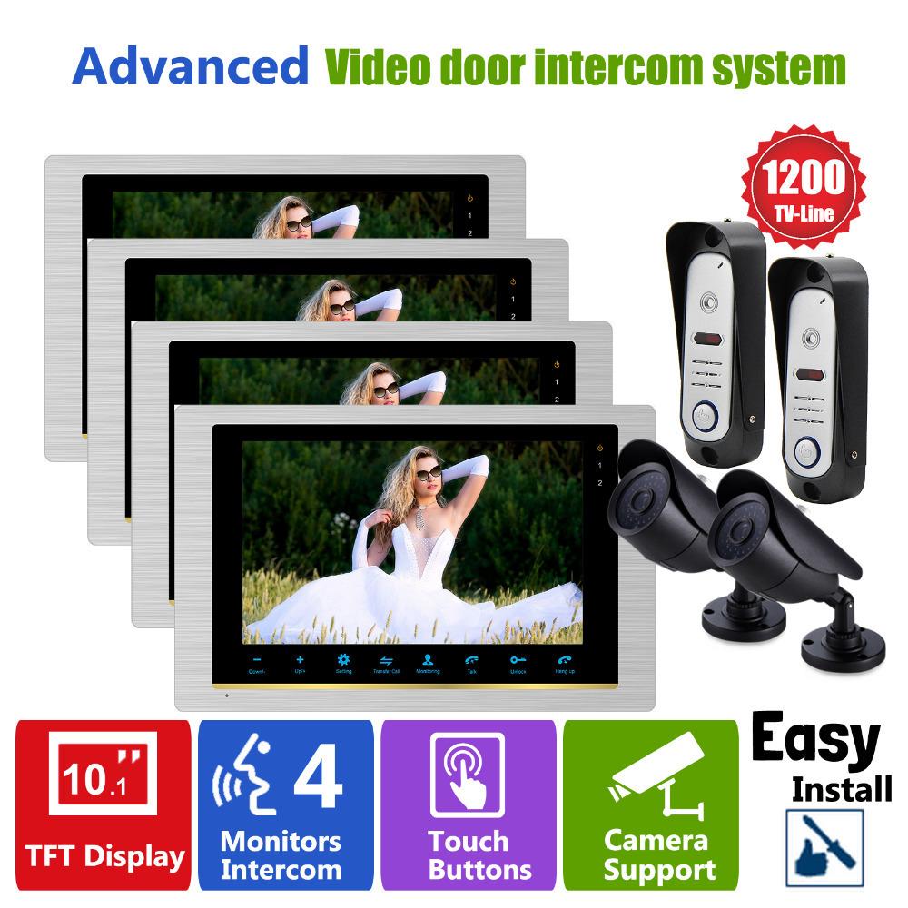 YSECU 4V2V2 Video Doorphone Intercom System Wired Intercom Doorbell Waterproof Door Pinhole Camera with CCTV Security System(China (Mainland))