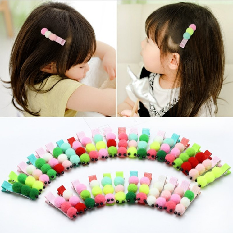 60pcs/lot Fur PomPom Caterpillar Hair Clip Classic Cartoon Hairpin For Women Girls Wholesale Cut Hairpins(China (Mainland))