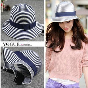 2013 VIVI Latest Fashion Summer Striped Sun Hats For Womens And Children Straw Cap Free Shipping(China (Mainland))