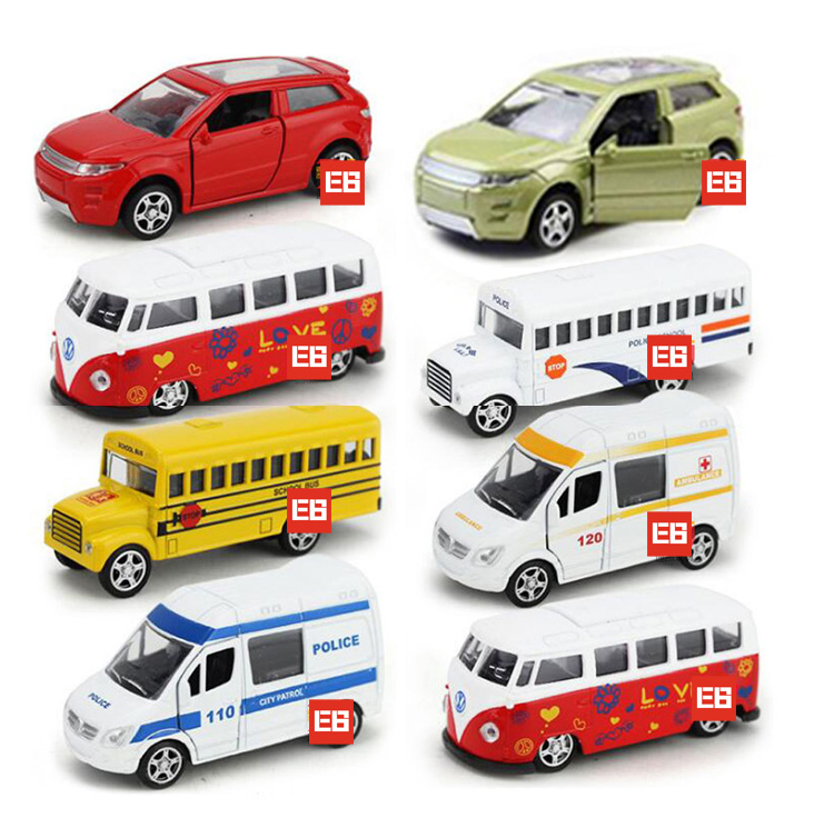 Hot 1:64 scale wheels mini police diecast cars Ambulance Land range Rover school bus VOLKSWAGEN T1 metal model pull back toys(China (Mainland))