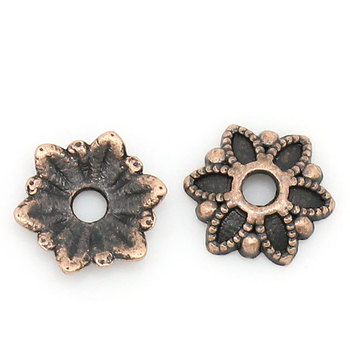 "Zinc metal alloy Beads Caps Flower Antique Copper (Fits 18.0mm Beads) 7.0mm( 2/8"") x 7.0mm( 2/8""), 50 PCs 2015 new"