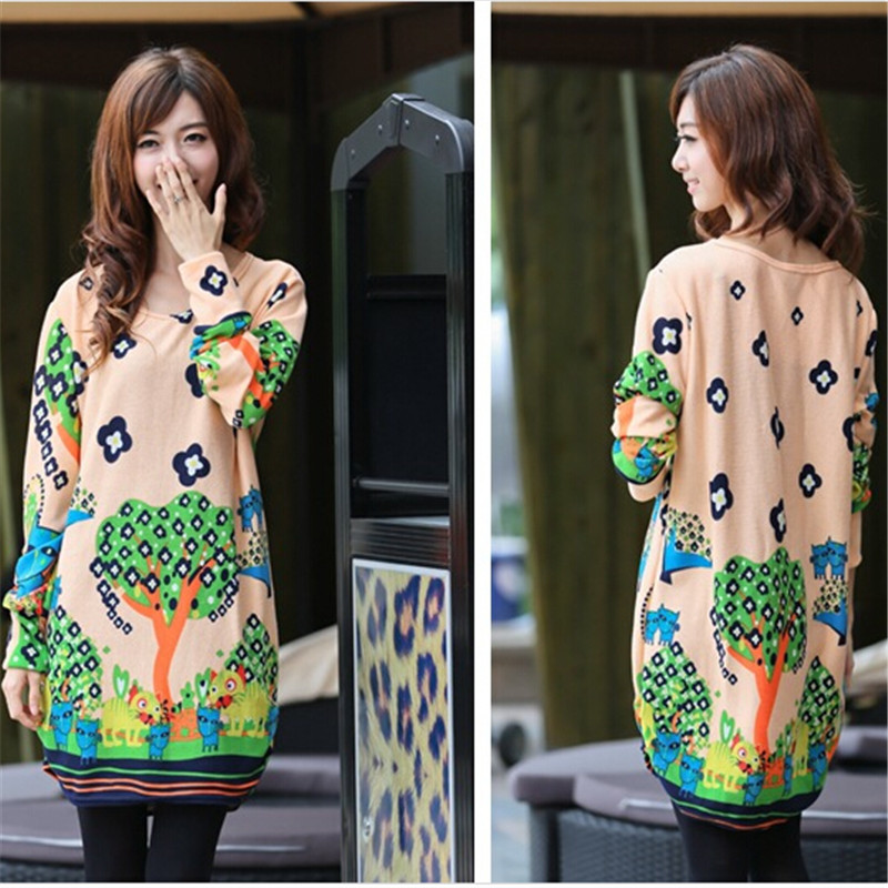 Female costume Large size Spring clothes Latest Fashion Long sleeve Printing dress Women clothes cheap clothes china BN1841(China (Mainland))