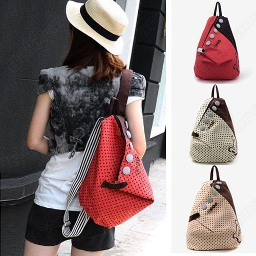 Girls Vintage Canvas Backpack Back Pack Rucksack Womens School Shoulder Bag 000C