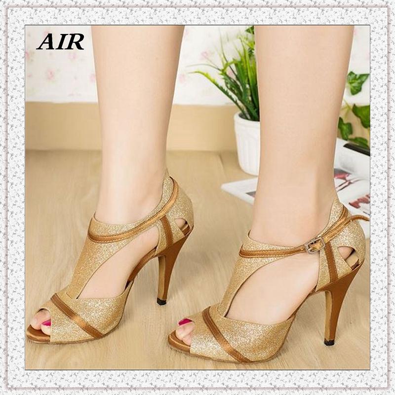 Glitter T-strap Women Latin Dance Shoes Gold Ballroom Dance Shoes Salsa Shoes Girls Ladies Heels 7cm 8cm 6cm(China (Mainland))