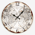 34cm Large decorative wall clocks with world map print modern design silent Living Room wall watches