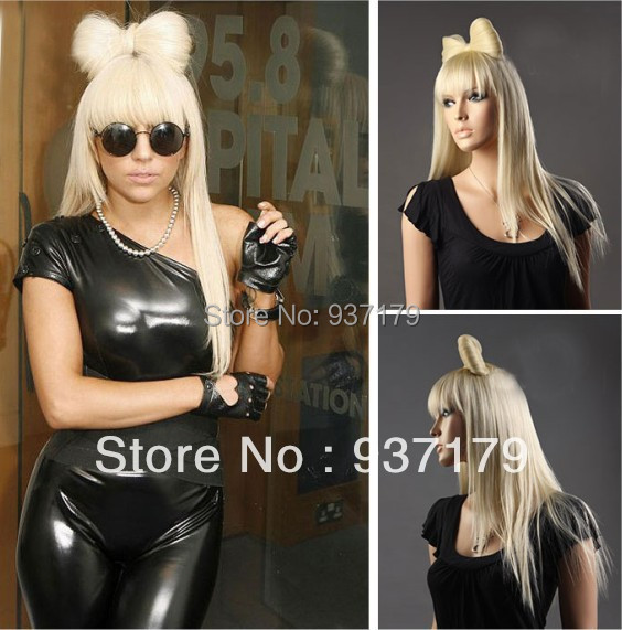 Same lady gaga golden or blonde/white/beige hair bow wig female star in Europe America star straight synthetic cos Wig with bow(China (Mainland))