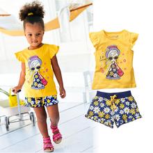 Children baby girls clothing sets kids clothes Cartoon T shirt Short Pants Sport Suits 2015 Kids
