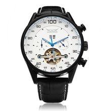JARAGAR Brand Luxury  Automatic Mechanical Tourbillon White Black Men Wrist Watch Men's Watches 2016 New Free Ship