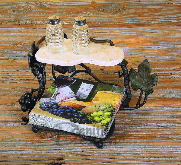 Vintage Iron Vineyard Luncheon Napkin Holder with Shelf for Removable Tissue using(China (Mainland))
