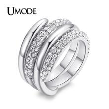 UMODE One Ring Polished and One Ring Rhinestone inlaid White Gold Plated Ring Set JR0088B(China (Mainland))