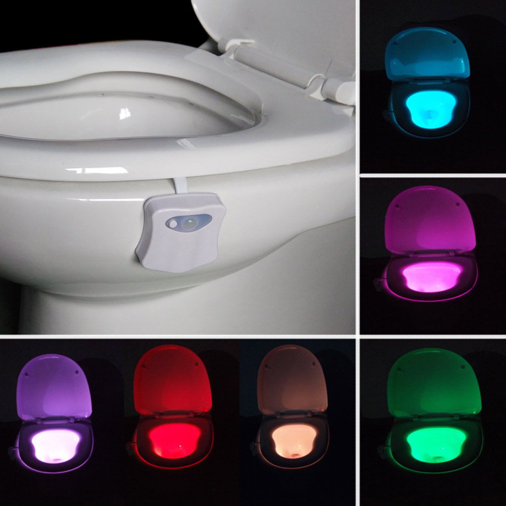 RGB LED Light Waterproof Bathroom Toilet Night Light Human Body Motion Activated Seat Sensor Lamp Emergency Light AAA Bathroom