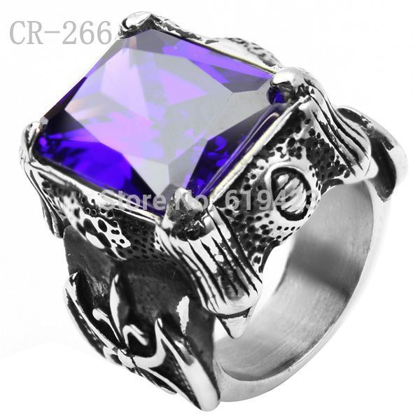 Free Shipping ! 5pcs/lot Punk Sons of Anarchy Man Punk Rings Vintage Silver 316L Stainless Steel Purple Gem Finger Ring CR-265(China (Mainland))