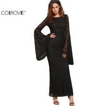 Buy COLROVIE Womens Dresses New Arrival Slim Pencil Long Maxi Dress Black Oversized Bell Sleeve Floral Lace Dress for $24.98 in AliExpress store
