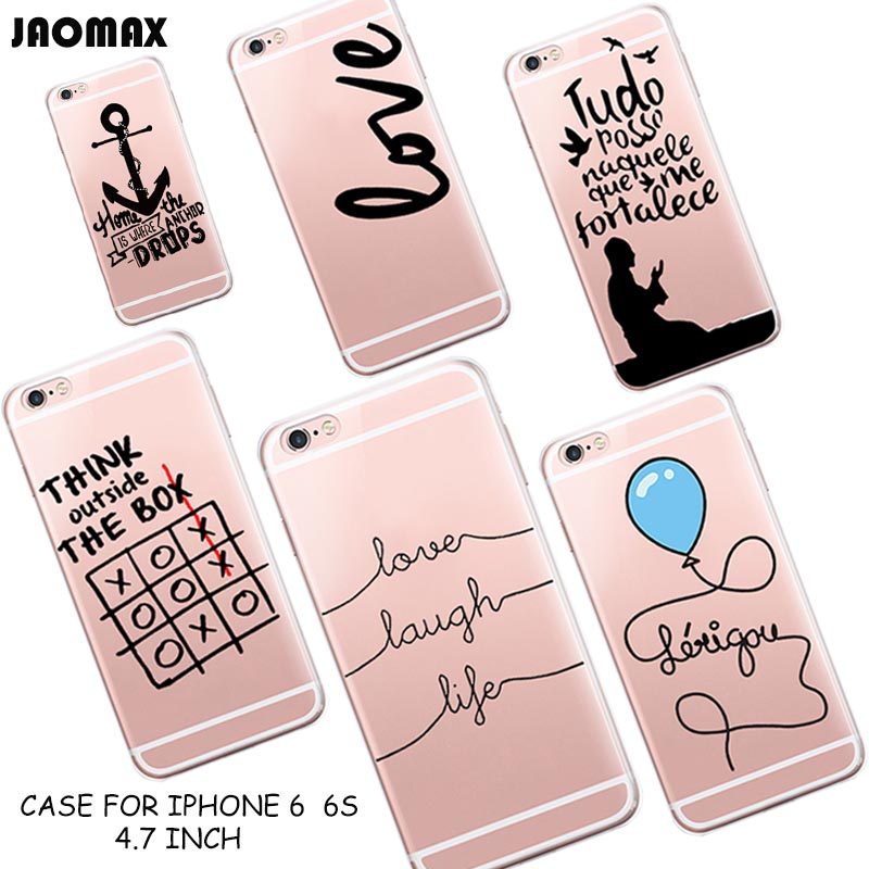 Cute Funny Portuguese Love Words Pattern Silicone Case For iPhone 6 6S Transparent Clear TPU Protecttive Phone Back Capa Fundas(China (Mainland))